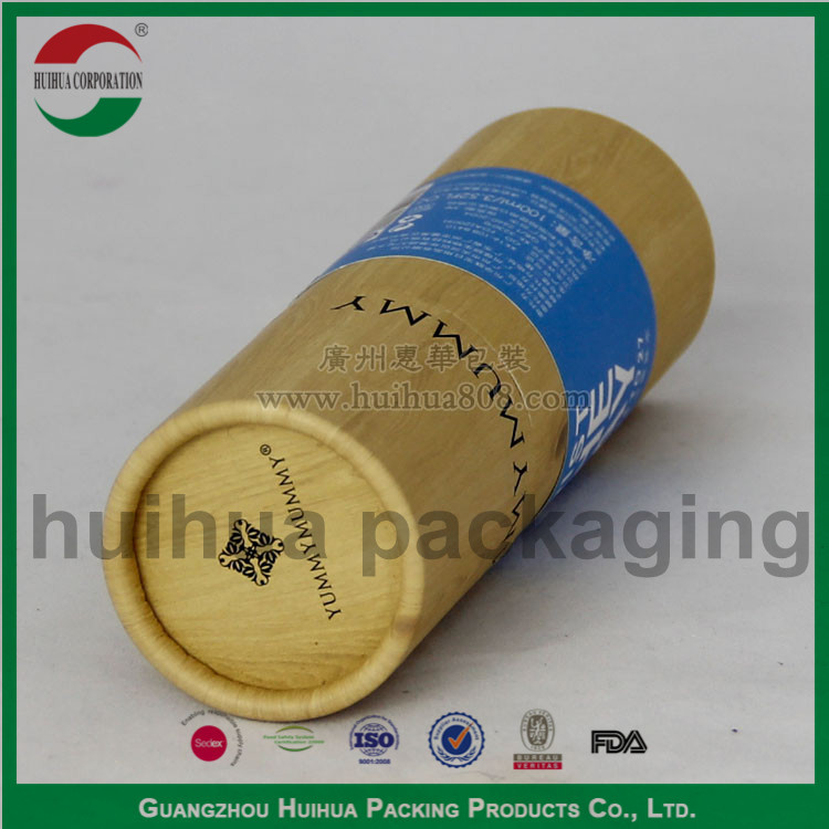 cylinder food grade bamboo style printed paper tube, paper box canister packaging