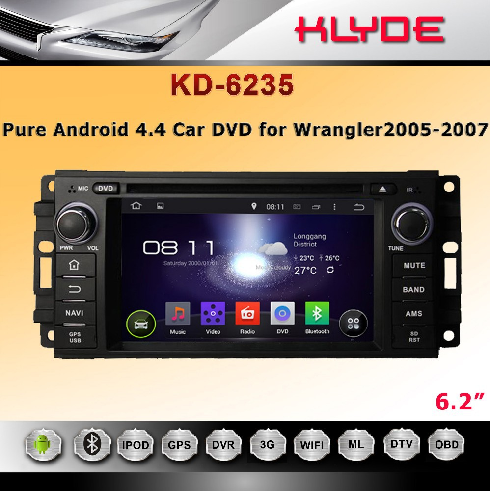 hot 6.2 inch HD one din android 4.4.4 car dvd player for Wrangler 2005-2007