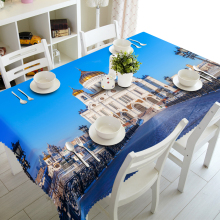 Popular Fashionable Landscape Design Oilproof Picnic 3D Spandex Cocktail Tablecloth , Table Cover
