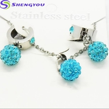 African Big Different Color Beads Necklace and Earring set Colorful Shamballa Design Fashion Women Jewelry Set
