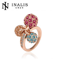 Latest wedding ring designs with three color balls R014