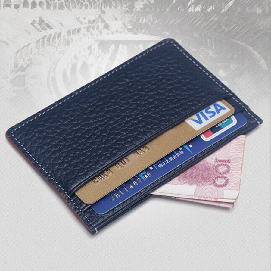 two slots each side compact atm card holder leather