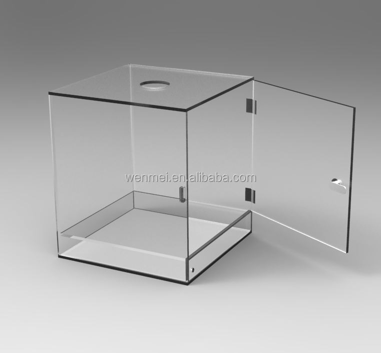 NEW design & hand-made acrylic suggestion box, donation box with lock