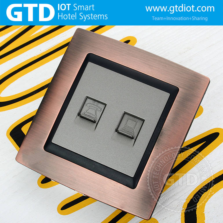 Telephone and Network Interface Wall Socket with Antique Zinc Alloy Red Bronze Metal Frame
