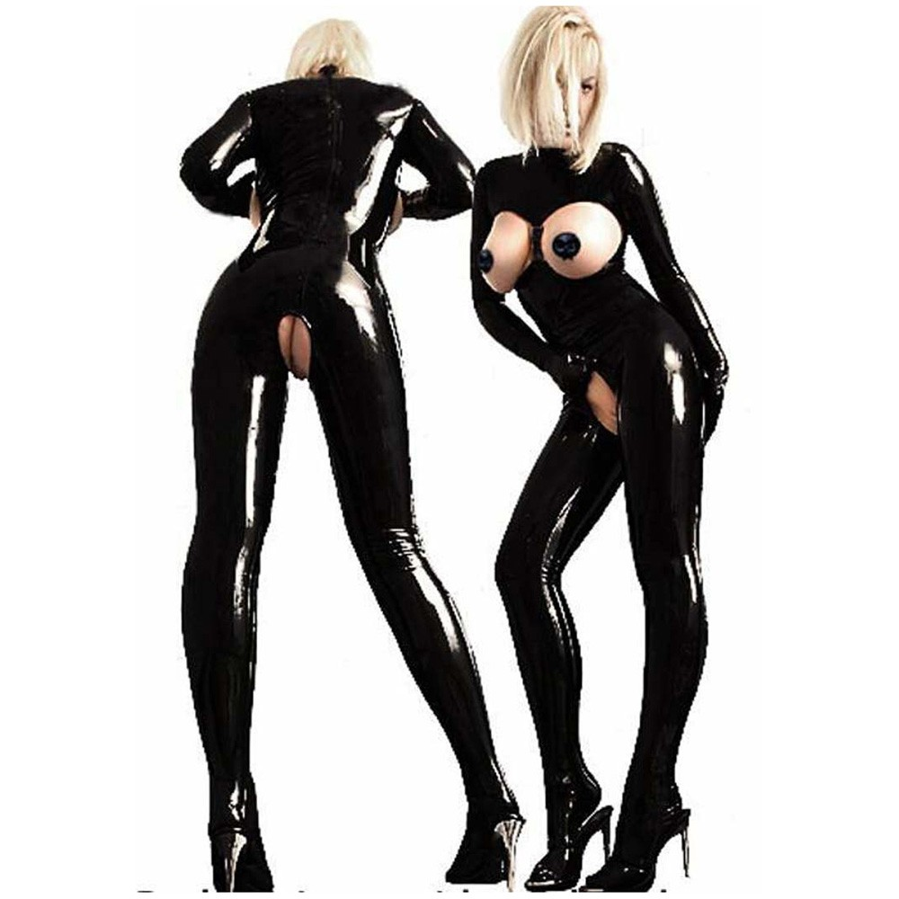 black sexy open pvc teddy lingerie open crotch black morph suits