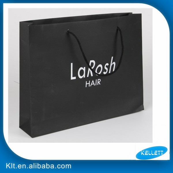 Customized black paper bag with rope handle/paper shopping bag with logo printed/paper gift bag