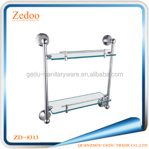 ZD-8313 bathroom dual tier wall mount glass shelves