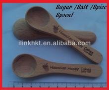 10 CM Beech Wood Sugar or Salt Spoon engraved with Custom Burnt Logo