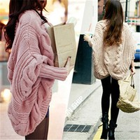 SFW701 2015 New Fall Winter Clothes Hot Sale Bat sleeve Cardigan Knitting Needle Loose Shawl Ladies Thick Coat Women Sweater