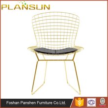 Classic restaurant furniture solid chrome steel Rose Gold wire chair