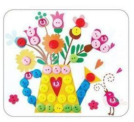Button flower/2016 New Style DIY Button Art Photo Frame For Kids Button Making Kit Button Craft Painting Material