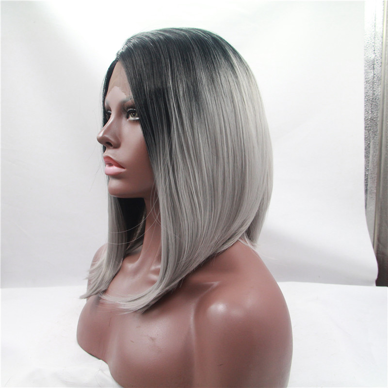 Fashion Ombre Grey Long Bob Wigs Short Natural Synthetic Wigs Natural Wigs