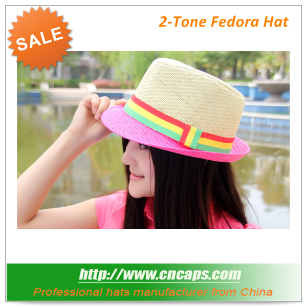 ladies trilby hats wholesale pink color with rainbow colorful hatband