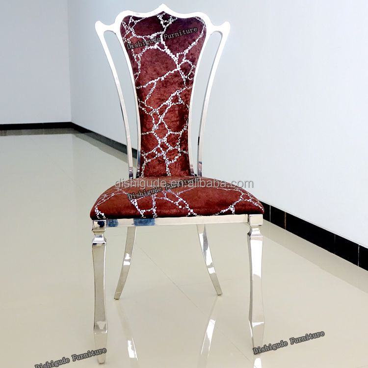 Modern red velvet high back stainless steel dining chair for restaurant hotel wedding