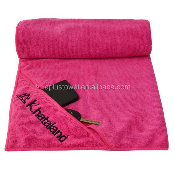 Microfiber Custom Gym Towel with Zip Pocket