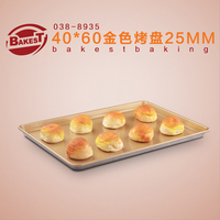 8935 Golden Non stick Rectangule Aluminum Alloy Shallow Baking Pan Tray Sheet for bread and cake