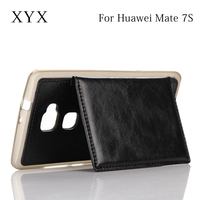leather material high quality leather case cover for huawei mate 7s, flip case for huawei ascend mate 7 s