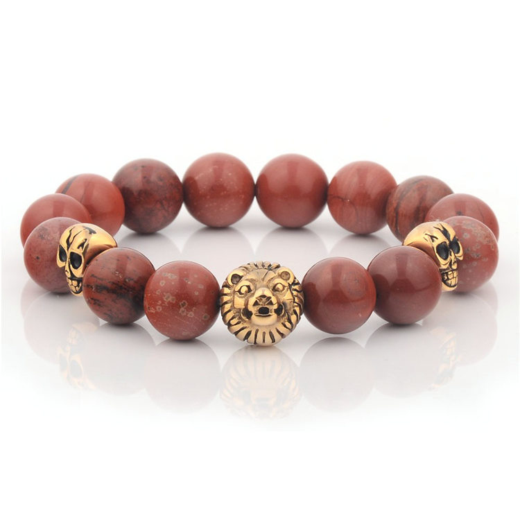 Handmade Lion Fashion Gold Plated Beaded Bracelets For Guys