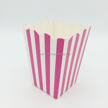 Wholesale rose red virtical stripes paper popcorn box puffed rice box