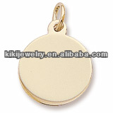 cheap wholesale gold plated jewelry polished round disc custom logo pendant charms(H104817-1)