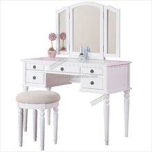 French style luxurious classic soild wood bedroom furniture white antique dresser table with mirror