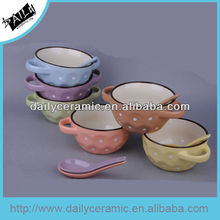2015 hot sale 16oz ceramic soup bowl and spoon with hand dots printing