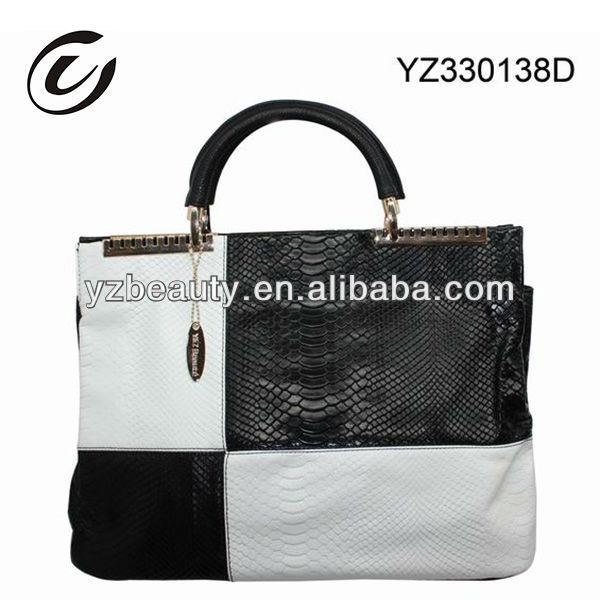 Black and White Metal Handle Crocodile Leather New 2013 Ladies Leather Handbags