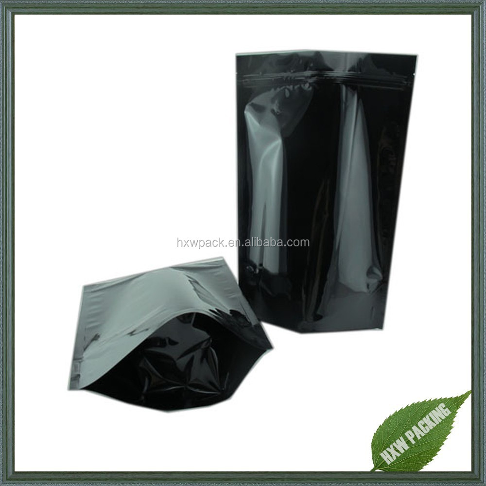 Stand up plastic black herbal incense bag with ziplock