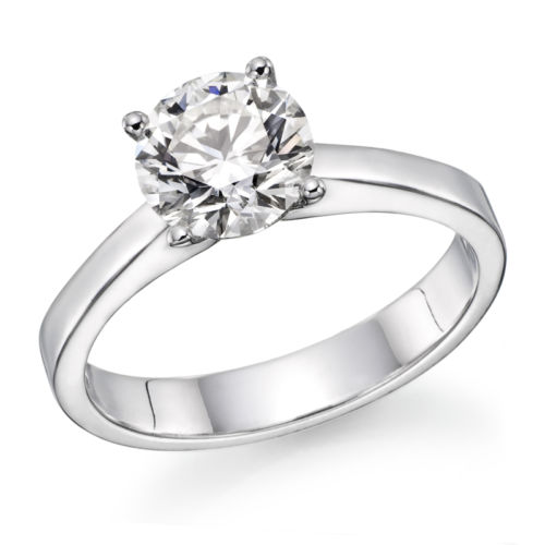 1.01 Carat Round Cut F VS2 Genuine Natural Diamond Engagement Ring on White Gold
