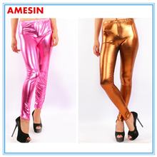 AMESIN Women Leather Pant Suit Sexy Tight PU Leggings Wet Look Leather Tight Pants