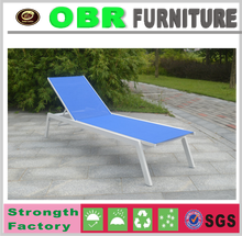 2017 new lightweight durable aluminium fabric blue beach sun lounge