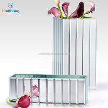 2017 Cube Shape Fashion mirrored crackle mosaic tall glass vase for flower arrangement