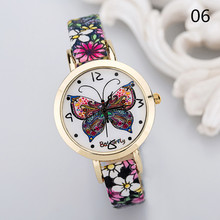 Vintage Retro personality fashion ladies wristwatch casual butterfly notes student quartz watch