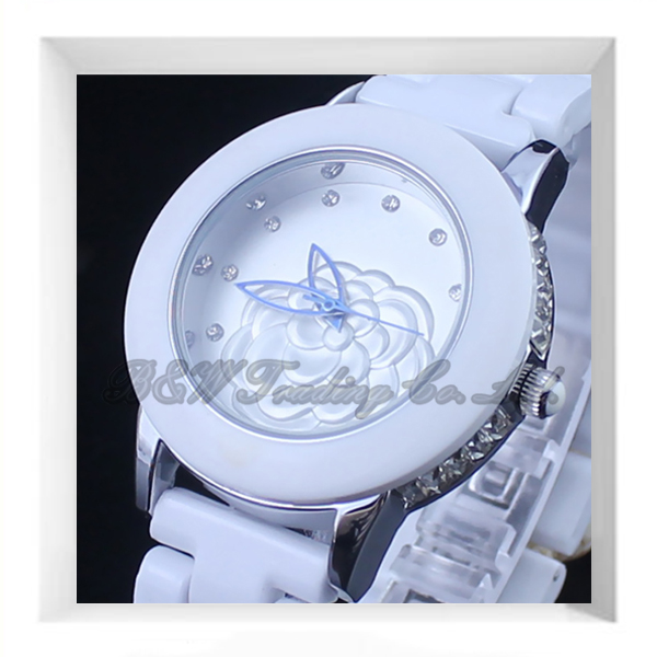 Geneva flower ceramic band watches women ceramic watch