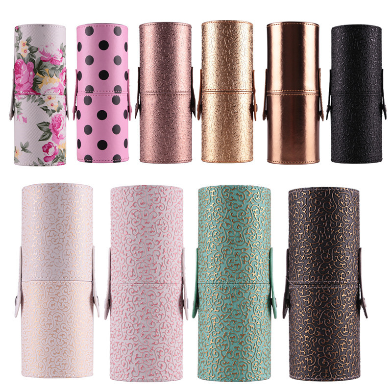 PU Leather Travel Cosmetic Brush Pen Holder Storage Empty Holder Makeup Bag Brushes Organizer Make Up Tool Holder 10 Color