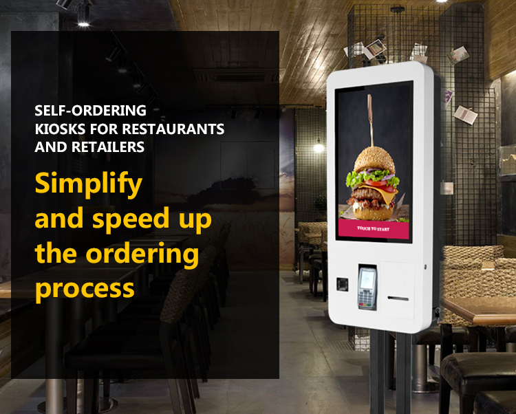 27 inch food ordering machine kiosk self service computer kiosk with self payment function
