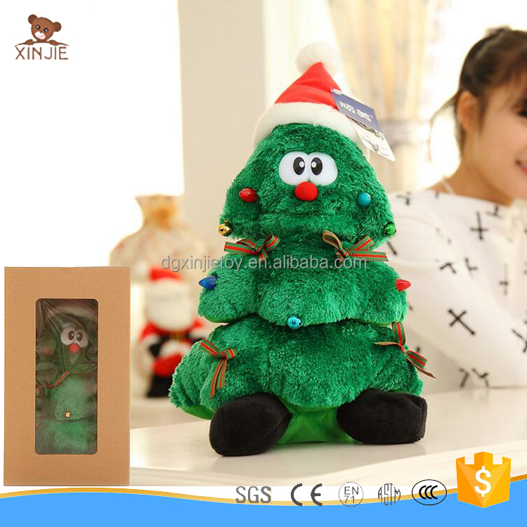 plush musical christmas tree toy soft stuffed christmas tree for car