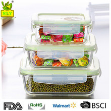 Wholesale microwave safe rectangular glass food airtight container with vent lid food storage container