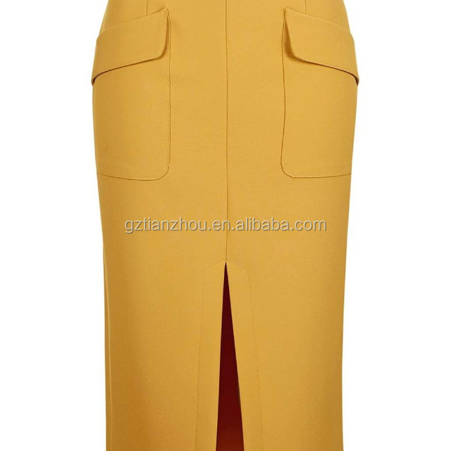 Hot Sale Fashion Sexy Split Front Double Pocket Skirt Ladies Midi Pencil Skirt