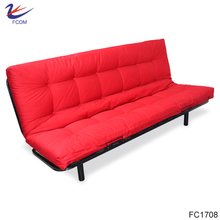 Comfortable Linen Fabric 3 Seat Futon Sleeper Sofa Bed Mattress Couch Futon With 5 Step Hinge