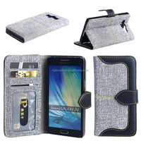 wallet style splicing pu leather phone holster with card sleeve for samgsung A5