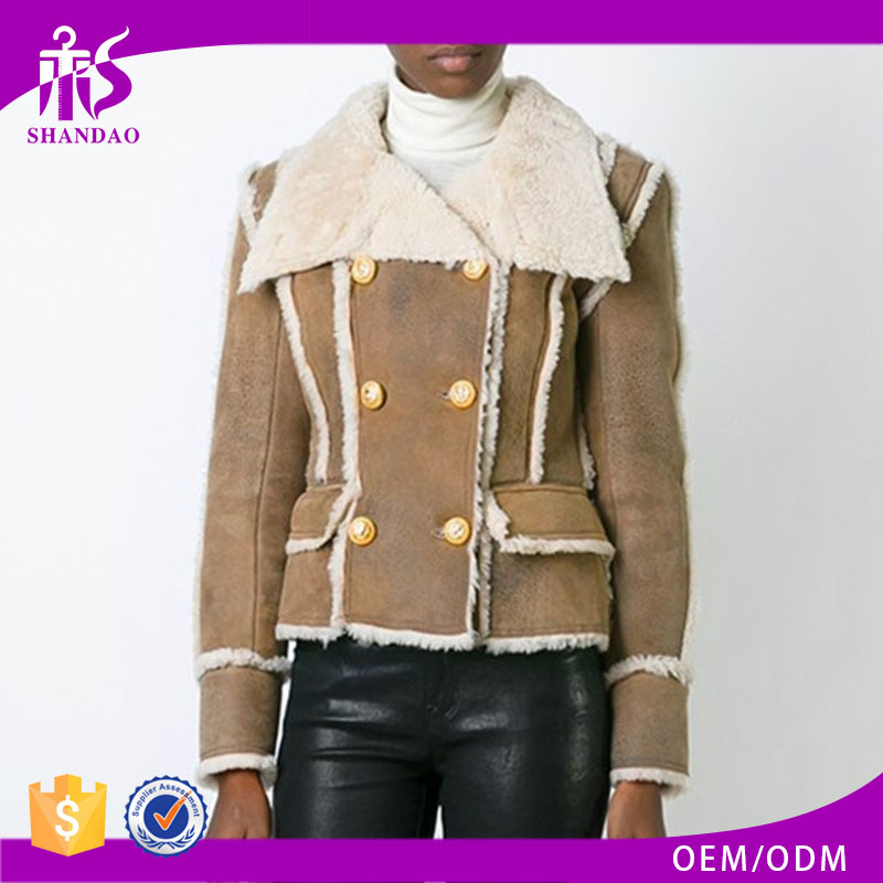 Shandao OEM custom women autumn long sleeve fashional polyester with pockets shearling coat