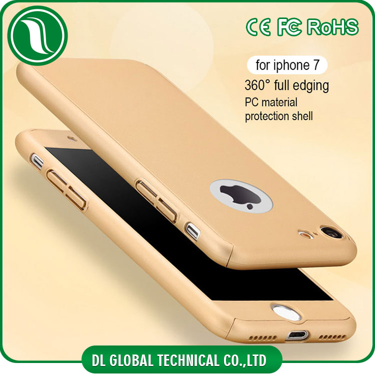 High quality rubberized plastic full cover with tempered glass for iphone 7 360 degree protective mobile case