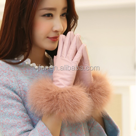 Custom Made Sweet Sheepskin Leather Gloves Sexy Lady Pink Fox Fur Trimming
