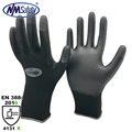NMSAFETY Black nylon pu dipped DMF free light duty working gloves