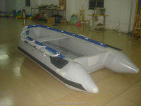 rigid inflatable boat with electric motor for lake