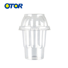Ice Cream Cup with Dome Cover Clear PP Plastic Milk Shake Yogurt Ice Smoothie Cup Summer Supplies