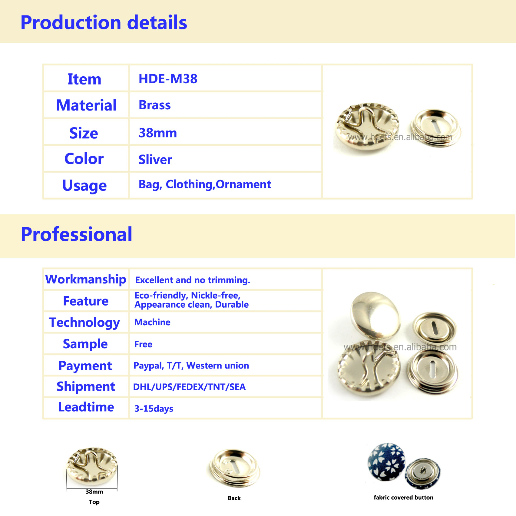 38mm Hand Work Fabric Covered Blank Button Components