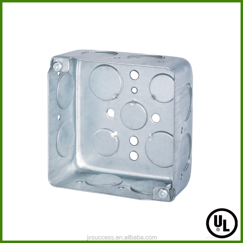 UL Listed Pre-galvanized Square Metal electrical box