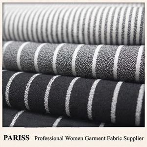 PARISS polyester spandex double crepe stripe suiting fabric